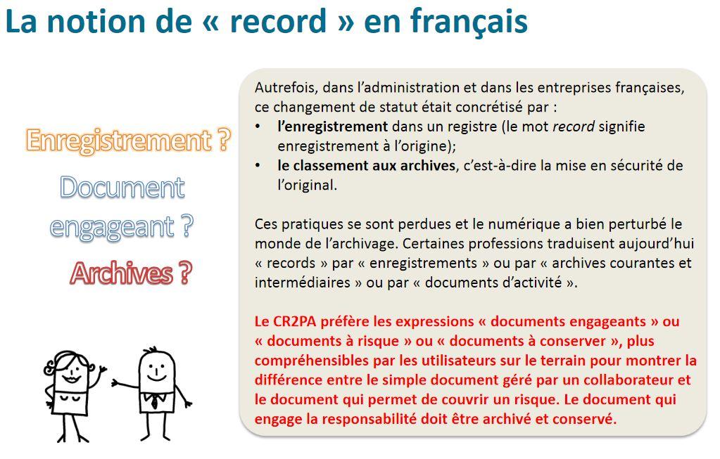 Présentation du cycle de vie de l'information et du document par le CR2PA